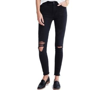 Madewell High Riser Skinny Distressed Jeans Black